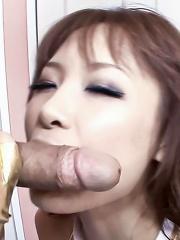 Misa Kikouden Asian fucks her beaver with dildo and sucks boner
