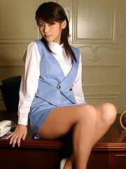 Yuka Kosaka cute office babe in a miniskirt and high heels