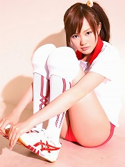 Adorable Akiko Seo showing off her bright pink panties