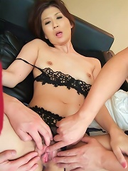 Nanako Yoshioka Asian gets dicks and fingers in asshole and pussy