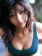 Hot steamy gravure idol showing off her large voluptuous boobs