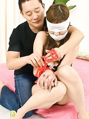Hinano in a fishnet suit bound and blindfolded