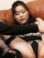 Hitomi Aizawa Asian in stockings fucks licked slit with finger