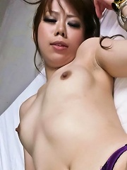 Sweet and saucy Sakura Aragaki in lingerie spreads up for cock