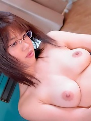 Rika Kitano Asian fucks her cunt with vibrator after blowjob
