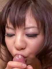 Hikaru Aoyama Asian in tiny lingerie strokes dong till cum is her