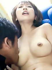 Yui Misaki has a finger stuffed deep into her furry pink pussy