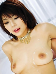 Azumi Harusaki Asian takes two cocks in mouth and cum dumpster
