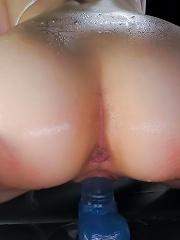 Tomoka Sakurai Asian with dildo in cunt releases her urine river
