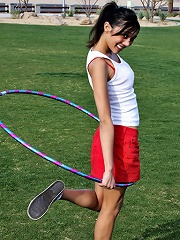 I tire myself out twirling the Hula Hoop and doing cartwheels.