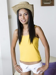 Tiny Thai slut can hide her tits in a hat